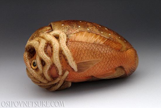 Squid and Tai-fish netsuke