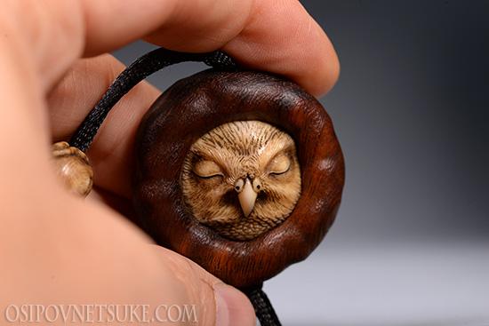 The Little Owl Netsuke