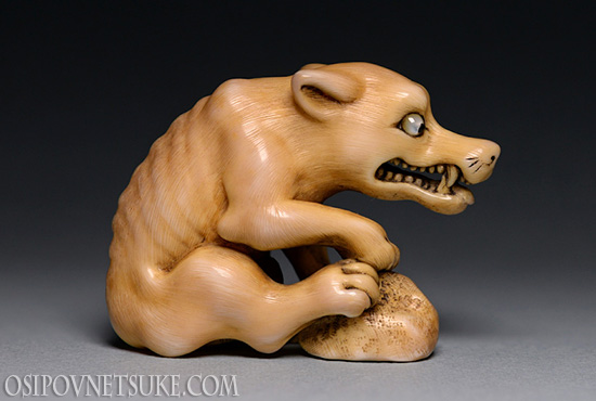 The Hungry Wolf & Relaxing Frog Netsuke